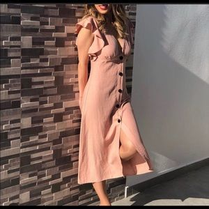 Zara rustic midi dress Xl ruffle sleeve